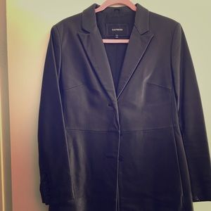 Express Black REAL leather Long Jacket